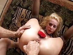 Explicit double anal for this wild blonde whore