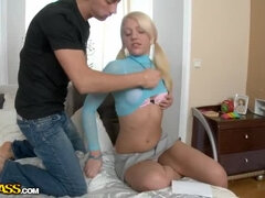 Super hot chick moans from stick attack