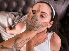 Sensual inked hottie Becky Sins likes hardcore dick-riding so much