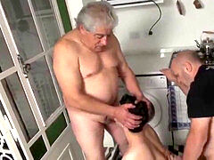 two grandfathers ejaculate in the mouth of a young
