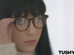 Dirty tutor spanks and fucks anal loving nerdy girl in glasses