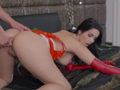Wonderful brunette girl in red latex gloves has sex in hotel