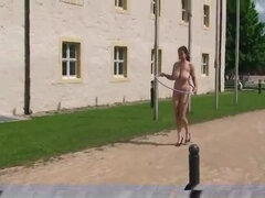 Brunette euro lady with giant massive saggy jugs naked on public in Prague
