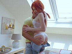 Redhead chick gets pounded on the table