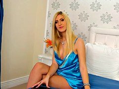 hot blonde satin lady