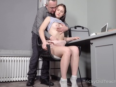 Lazy brunette student gets her last sex chance