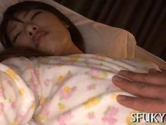 Japanese girl with little tits groped and fucked