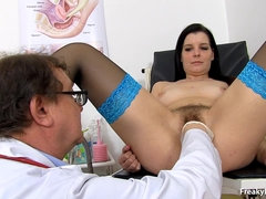 babe with stockings needs doctor's help - gyno porn