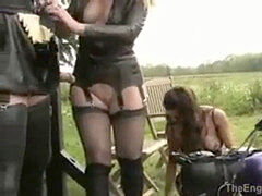 Rubber horse have fun between 3 mistress and a1 ponygirl