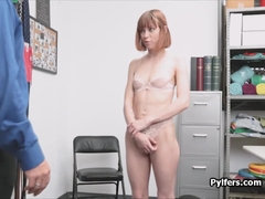 Guard ass fucks redhead thief in the storage room