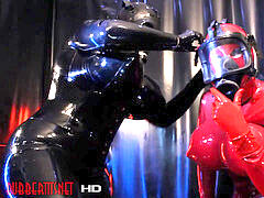 black And crimson heavy Rubber Latex With Gas Mask