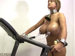 Curvy blonde gets her nipple trained on the treadmill