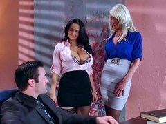 Riley Jenner and Ava Addams fuck their horny boss