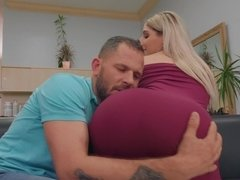 Blonde Abella Danger with great ass has sex with a married man in the salon