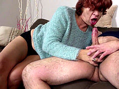 STEP SON SEDUCE UGLY HAIRY granny TO plumb AND drink CUM