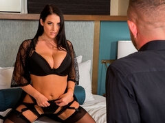 Spicy big-boobed brunette in stockings Angela White rides on a dick