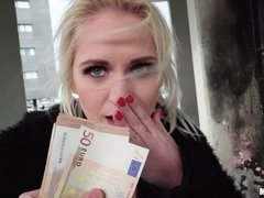 Sexy blonde Rossella Visconti blowjobs big dick and fucks for money