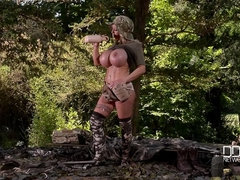 Busty Stealth Bombshell: Blonde Army Goddess Camouflages Big Tits