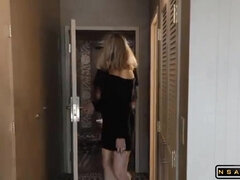 Stacked Blondie Mommy Shares A Black Male Pole With Teen