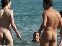 Blonde wife caught nude in a hot beach voyeur video