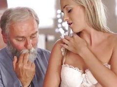 OLD4K. Aged dad spends splendid time with adorable blonde
