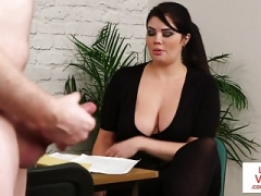 big-breasted british voyeur encourages her sub