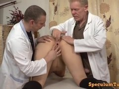 Two kinky gyno doctors explore her pussy