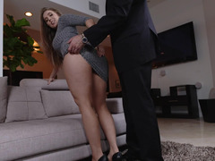 Curvy Lena Paul gives a footjob and fucks hardcore