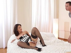 Hot babe Madlin wears lacy thighs & elegant bustier during Hardcore fucking GP1028