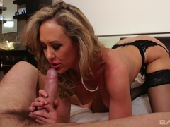 Brandi Love makes him lick her feet as he bangs her pussy