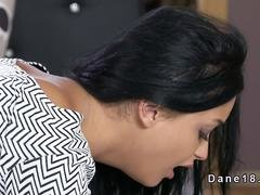Dark haired beauty gets rimjob and fuck
