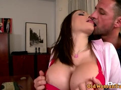 Busty office MILF hard sex video