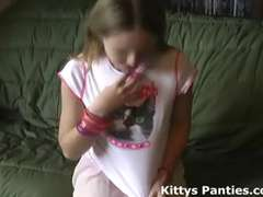 Little teenager Kitty in a adorable lil' pinkish micro-skirt