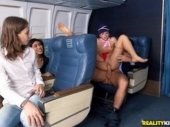 Horny stewardess Nikki Knightly treats big dick passenger with hardcore fuck
