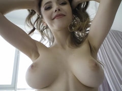 flirtatious Natural chick with light-haired Hair and Blue Eyes Stripping for Nudex