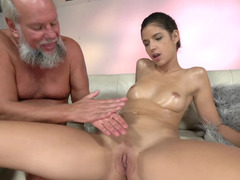 Grey-haired grandpa gets access to young juicy pussy