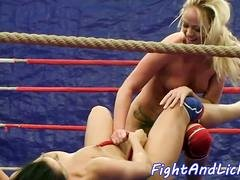 Busty lesbians wrestling and pussylicking