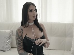 Goth dom Ivy Lebelle assfucked after gagging on cock