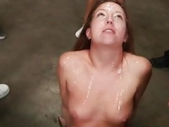 Sexy redhead no 1 time deepthroat and rough bukkake group sex