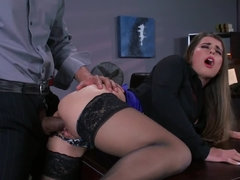 Brutal boss gently penetrates secretary's pussy near table