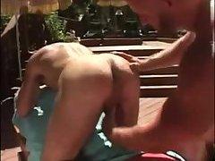 Beefy masseur teasing guy