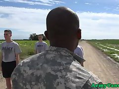 Military troops cumdropping group exxxercise