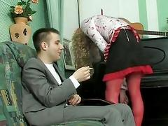 Sexy crossdresser maid getting fucked by the guest