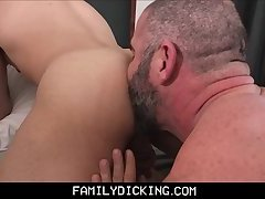 Bear Step Dad Threesome With Step Son's In Mom And Dad's Bed