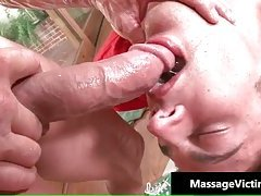 Calvin gets his hard cock rubbed hard during massage