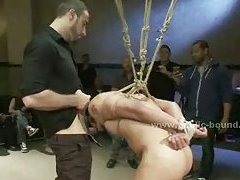 Tied with hands behind sexy gay fucked