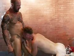 Blonde fucker is a breeding ground for a couple of tattooed men