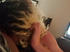 Sissy gagging and sucking my balls Pt 2