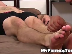 Bearded hunk freak worships sleeping guys feet way toy much