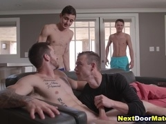 Gay twinks peeping on hot jock and fucking him